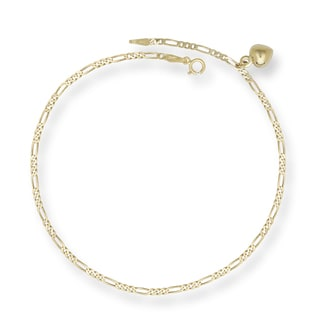 14k Yellow Gold Figaro Link with Dangling Heart Charm Anklet