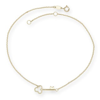 14k Yellow Gold 9-inch Polished Key Anklet (with 1-inch extender)