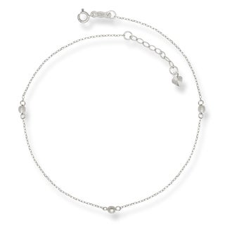 14k White Gold 9-Inch Mirror Beaded Anklet (with 1-inch extender)