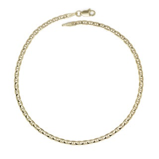 14k Yellow Gold 9-inch Polished Anchor Link Anklet