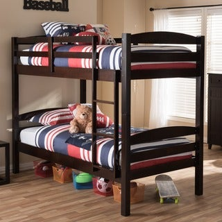 Baxton Studio Cybele Solid Wood Dark Brown Twin over Twin Bunk Bed