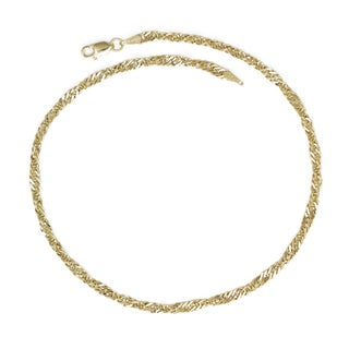 14k Yellow Gold 10-inch Bold Singapore Anklet