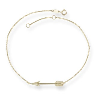 14k Yellow Gold 9-inch Polished Arrow Anklet (with 1-inch extender)