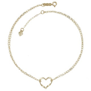 14k Yellow Gold 9-inch Floating Heart Anklet (with 1-inch extender)
