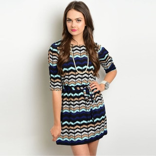Shop the Trends Women's 3/4 Sleeve Missy Dress with Allover Multicolored Print and Blouson Bodice
