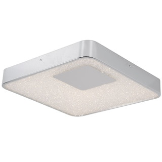 Alternating Current Crystalline LED Dimmable Square Chrome Small Flush Mount with Acrylic Diffuser