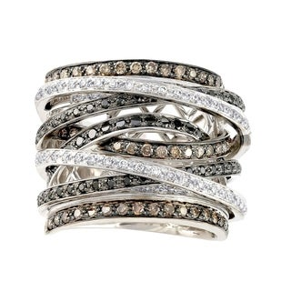 10k White Gold 1 1/2ct TDW Diamonds Multi Row Crossover Ring