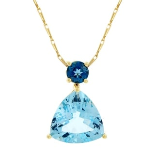 Beverly Hills Charm 14k Yellow Gold 6 4/5ct Blue Topaz Necklace