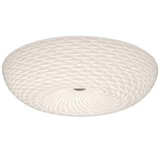 Alternating Current Swirled LED Chrome Large Flush Mount with Swirled Glass