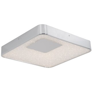 Alternating Current Crystalline LED Dimmable Square Chrome Medium Flush Mount with Acrylic Diffuser