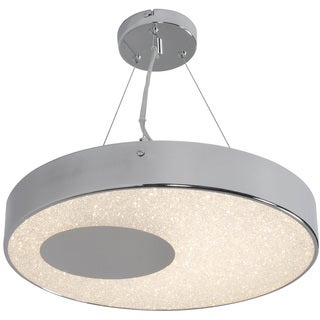 Alternating Current Crystalline LED Dimmable Round Chrome Pendant with Acrylic Diffuser