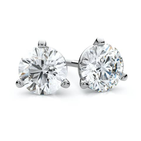 Platinum 2ct TDW 3-prong Martini Round Diamond Stud Earrings