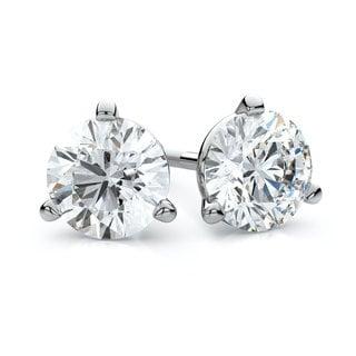 Platinum 2ct TDW 3-prong Martini Round Diamond Stud Earrings (H-I, SI1-SI2)