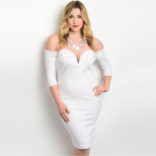 Shop the Trends Women's Plus Size 3/4 Sleeve Off The Shoulder Bodycon Dress
