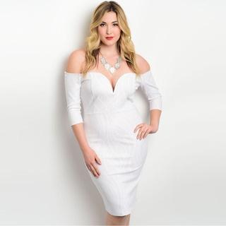Shop the Trends Women's Plus Size 3/4 Sleeve Off The Shoulder Bodycon Dress