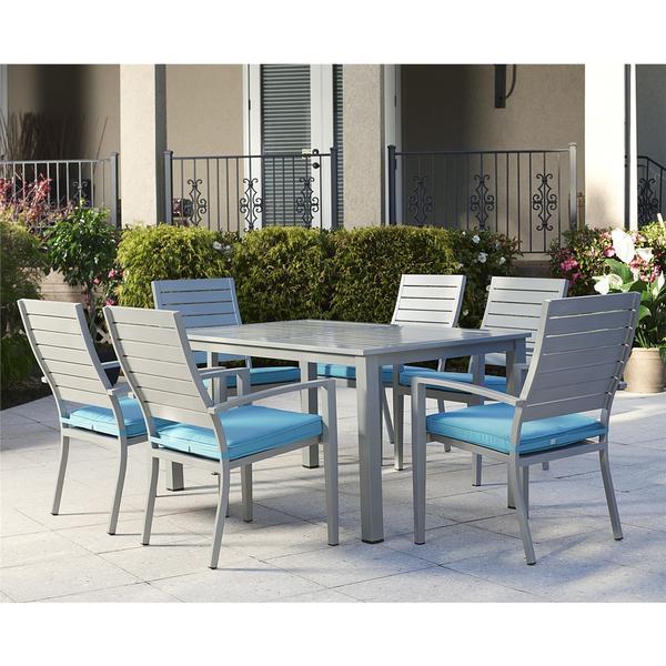 cosco 7 piece outdoor aluminum patio furniture dining set free