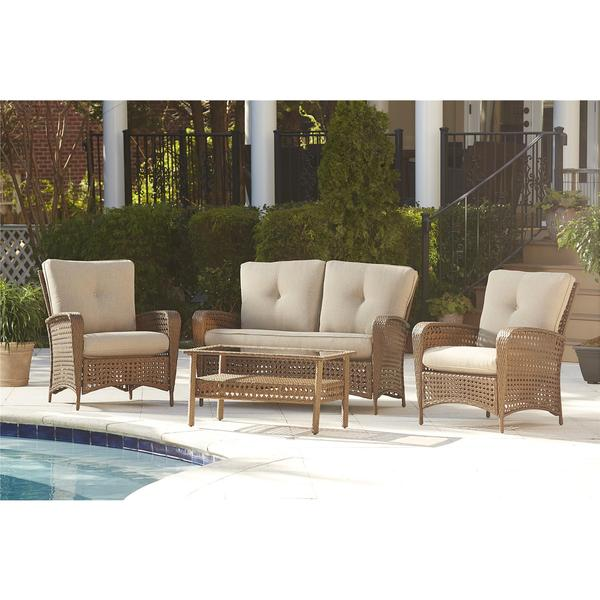 Cosco Outdoor Steel Woven Wicker Patio Conversation Set