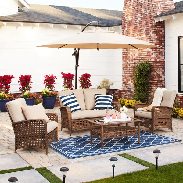 Cosco Outdoor Steel Woven Wicker Patio Conversation Set With Coffee Table