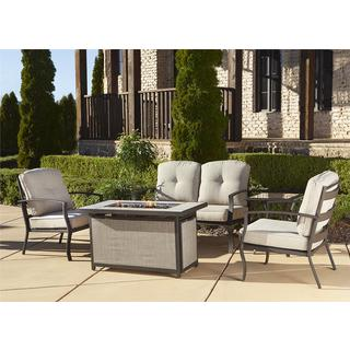 Cosco Outdoor 5-piece Aluminum Patio Conversation Set with Gas Fire Pit Table
