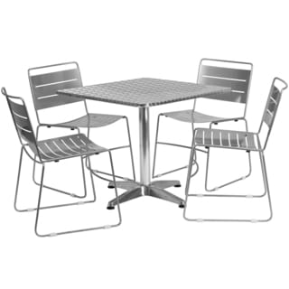 31.5-inch Square Aluminum Indoor-Outdoor Table with 4 Metal Stack Chairs