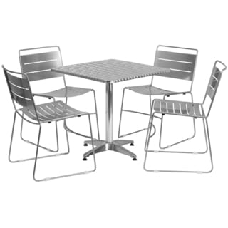 27.5-inch Square Aluminum Indoor-Outdoor Table with 4 Metal Stack Chairs