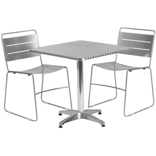 27.5-inch Square Aluminum Indoor-Outdoor Table with 2 Metal Stack Chairs