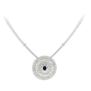 14k White Gold 1 1/4ct TDW Diamond and Blue Sapphire Pendant (I-J, SI1-SI2)