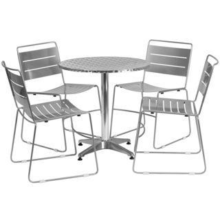 27.5-inch Round Aluminum Indoor-Outdoor Table with 4 Metal Stack Chairs