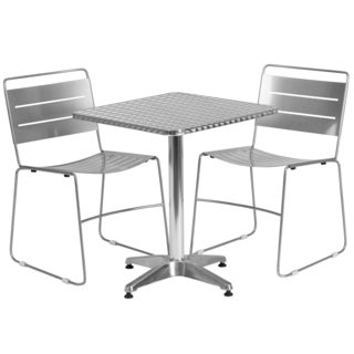 23.5-inch Square Aluminum Indoor/ Outdoor Table with 2 Silver Metal Stack Chairs