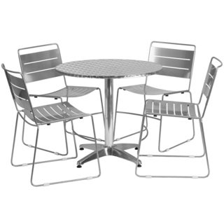 31.5-inch Round Aluminum Indoor/ Outdoor Table with 4 Metal Stack Chairs