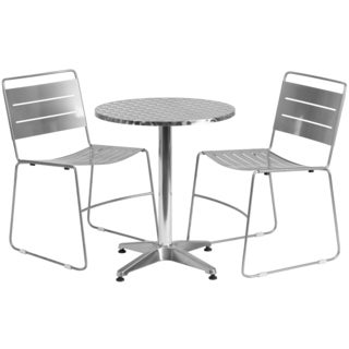 23.5-inch Round Aluminum Indoor-Outdoor Table with 2 Metal Stack Chairs