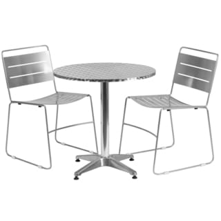 27.5-inch Round Aluminum Indoor-Outdoor Table with 2 Metal Stack Chairs