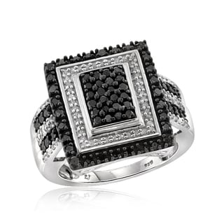 Jewelonfire Sterling Silver 1ct TDW Black and White Diamond Rectangle Ring