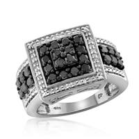 Jewelonfire Sterling Silver 1ct TDW Black and White Diamond Square Ring