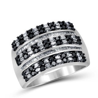 Jewelonfire Sterling Silver 1ct TDW Black and White Diamond Ring