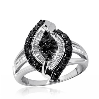 Jewelonfire Sterling Silver 1ct TDW Black and White Diamond Ring ( I2-I3)