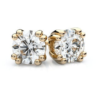 18k Yellow Gold 1ct TDW Double Prong Round Diamond Stud Earrings (H-I, SI1-SI2)