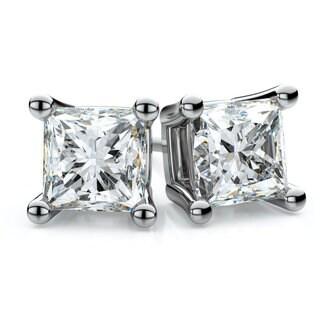 14k White Gold 1/3ct TDW 4-prong Princess Diamond Stud Earrings