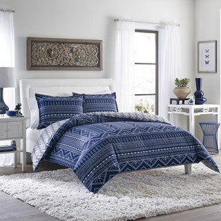 Poppy and Fritz Pippa Indigo Tribal Print 3-Piece Cotton Comforter Set