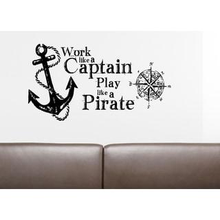 Inscription Play Like A Pirate Wall Art Sticker Decal