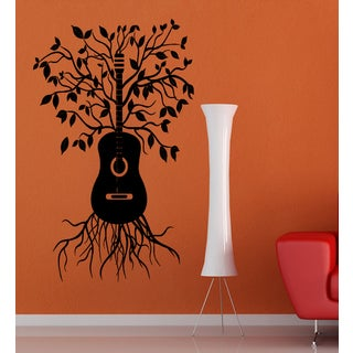 Guitar and Tree Wall Art Sticker Decal