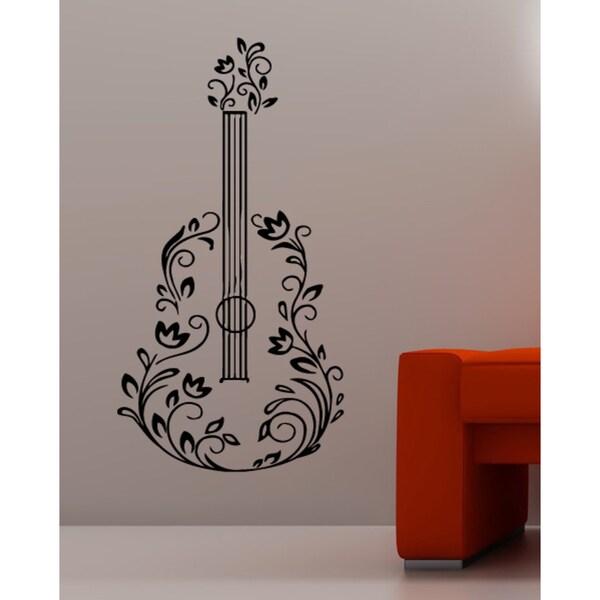 Flower guitar Wall Art Sticker Decal