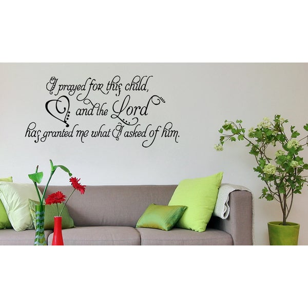 Shop Phrase Prayed For This Child Wall Art Sticker Decal - Free ...
