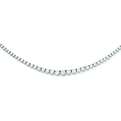 Sterling Silver Rhodium-plated Cubic Zirconia Necklace by Versil