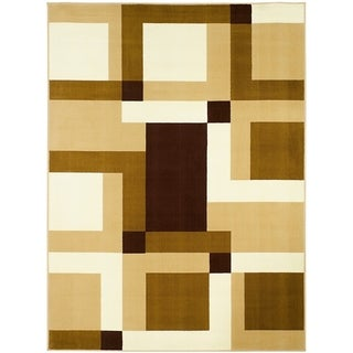 LYKE Home Color Block Brown Polypropylene Area Rug ( 8' x 10')