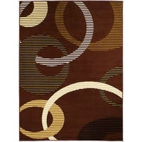 LYKE Home Geometric Dark Brown Polypropylene Area Rug - 8' x 10'