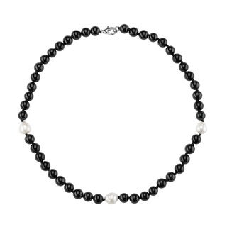 Sterling Silver Freshwater Pearl and Black Onyx Necklace (9-10mm)