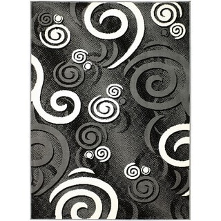 LYKE Home Swirl Gray Polypropylene Area Rug ( 5' x 7')