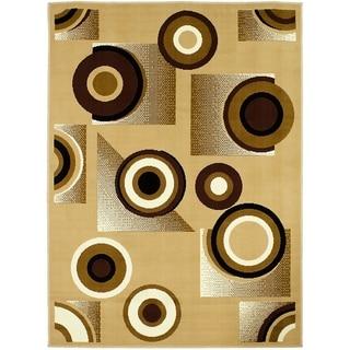 LYKE Home Bullseye Brown Polypropylene Area Rug ( 5' x 7')