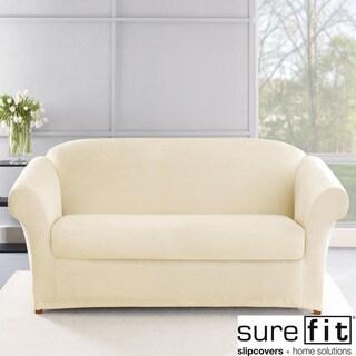 Sure Fit Stretch Plush Cream Sofa Slipcover in Cream (As Is Item)